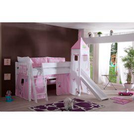 Lit Surélevé Avec Toboggan 90×200 Coloris Rose Chateau Princesse