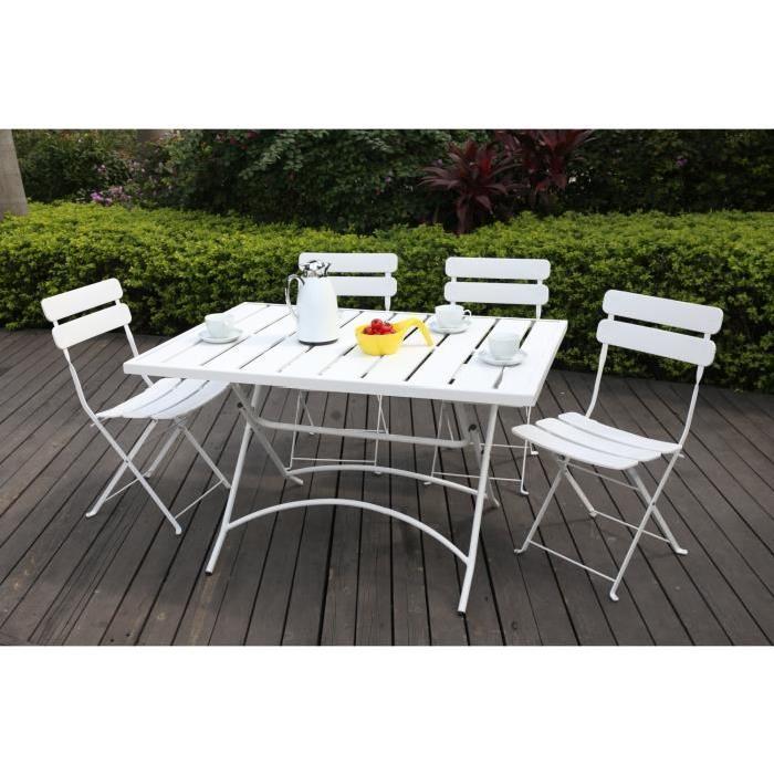 FINLANDEK Ensemble table de jardin 120 + 4 chaises acier blanc HIENO