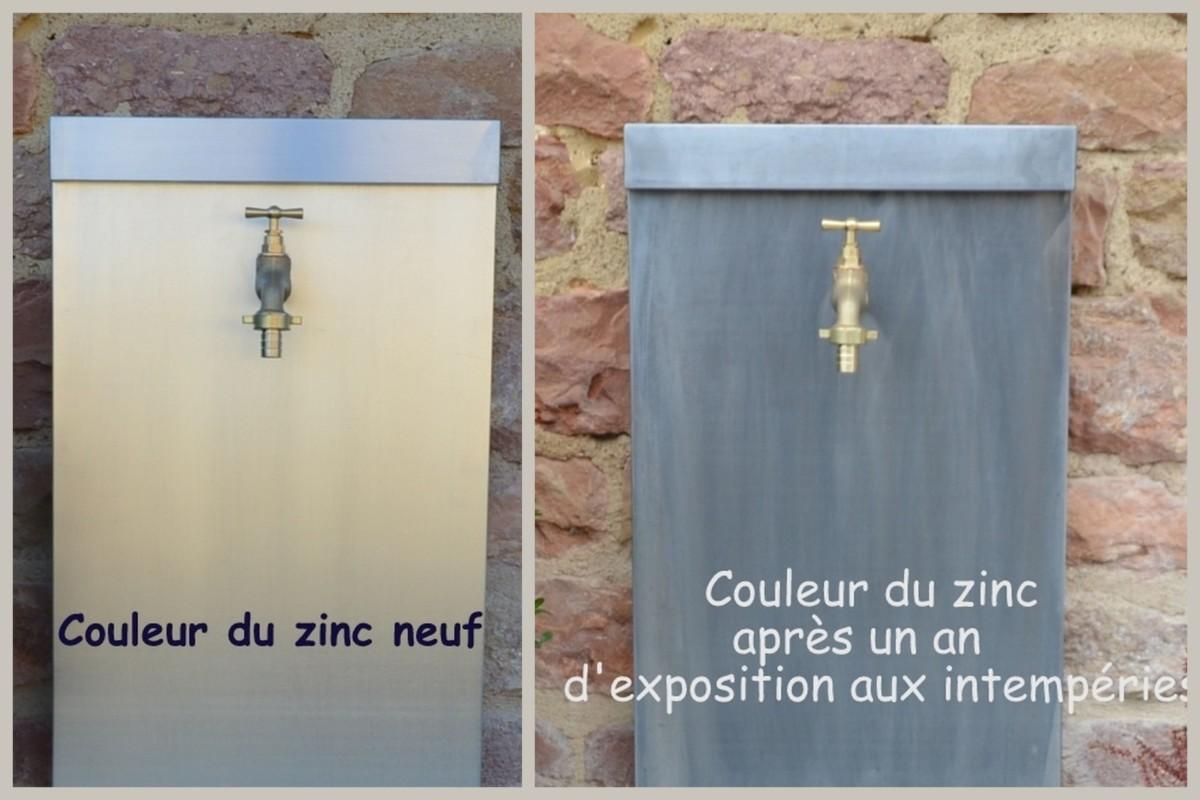 Fontaine de jardin en zinc naturel modèle CAMPANULE 3