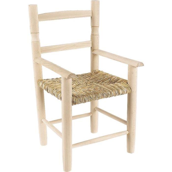 Chaise enfant en bois brut avec accoudoir,prêt à peindre, siège