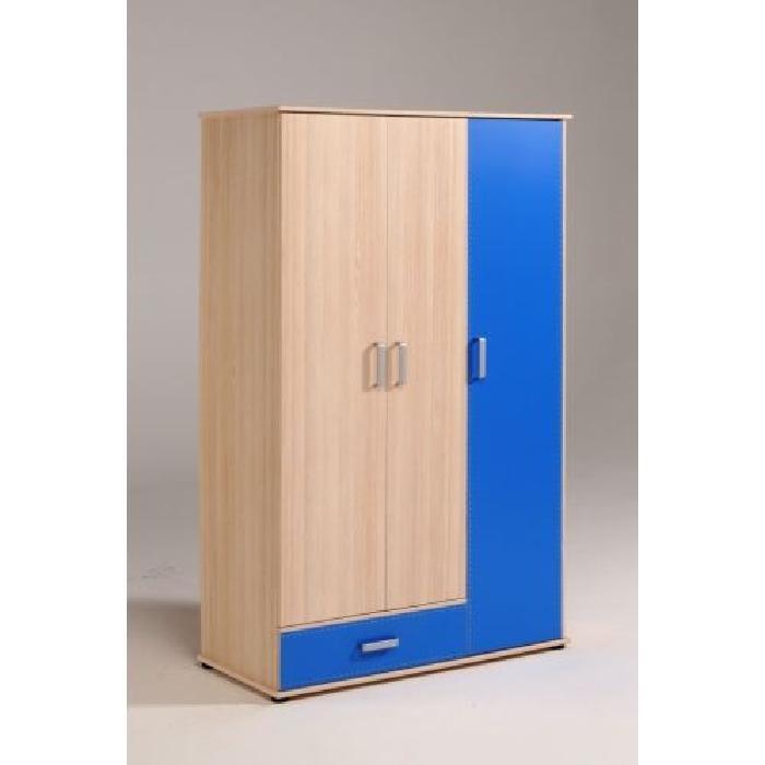 Armoire enfant 3 portes SPRING Bi color bleu Achat