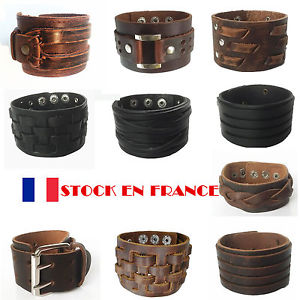 Bracelet Cuir Véritable Homme Force Manchette Rock Marron Antique