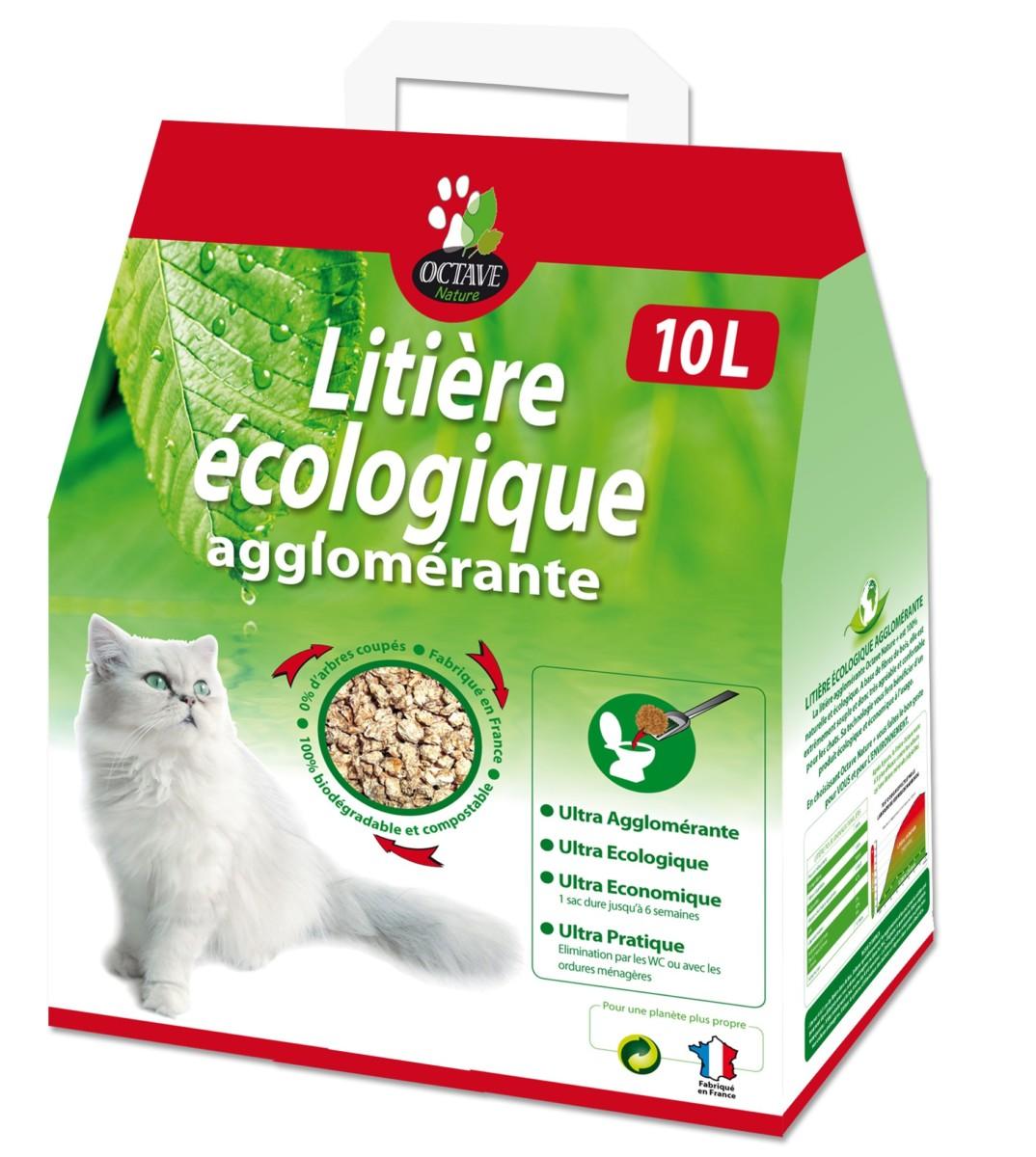 Litière Végétale Écologique Aglomérante Octave Nature 10 Litres