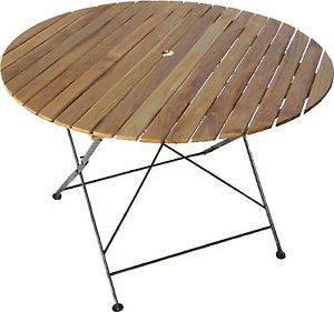 Table ronde pliante de jardin bois verni