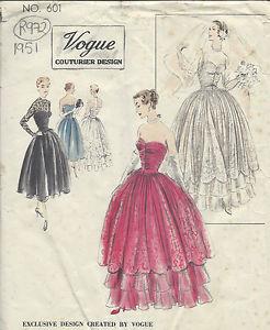 1951 Vintage Vogue Motif Couture B34 Robe DE Soirée Mariage R972