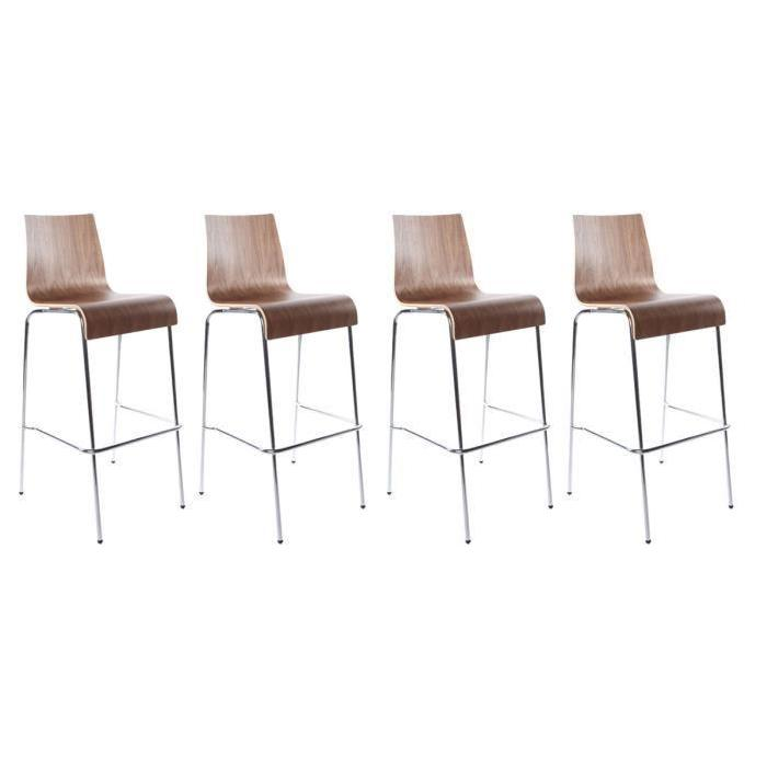 Lot de 4 tabourets de bar FOREST Bois noyer