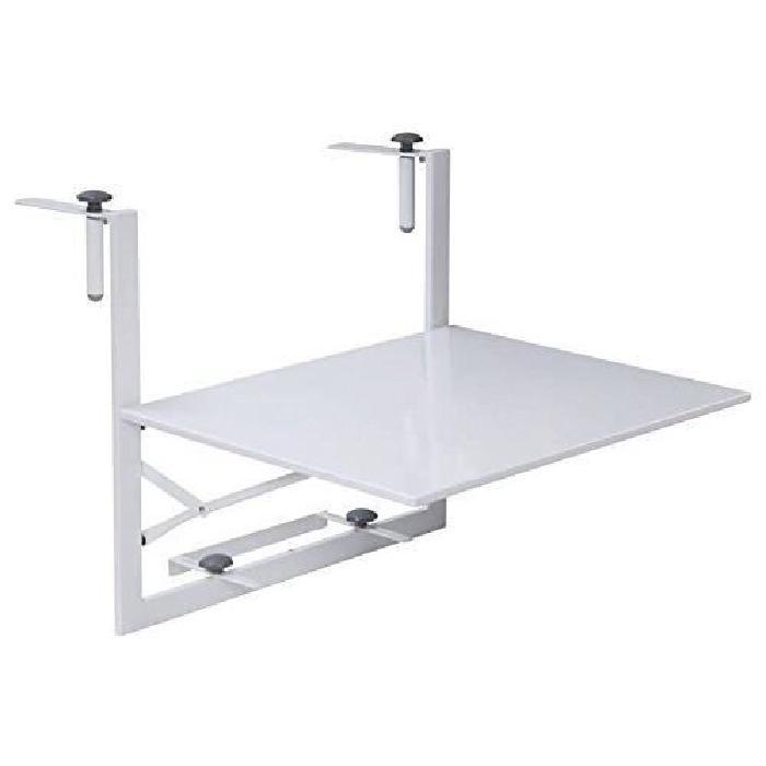 Table de balcon suspendue et rabattable, ajustable en hauteur BLANCHE