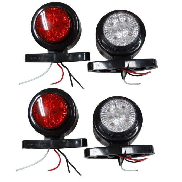 feux de position 24V à LED.Lumière ROUGE / BLANCHE.Dimensions sur