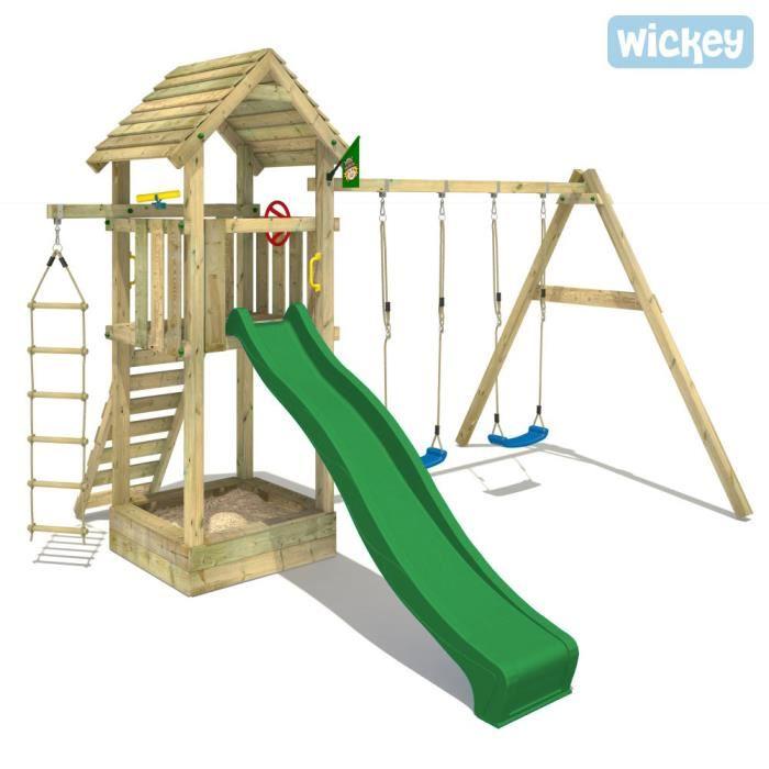 Aire de jeux bois WICKEY Captains Tower + Portique Achat / Vente
