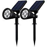 Double Eclairage Exterieur LED] Mpow Lampe Solaire Jardin IP65