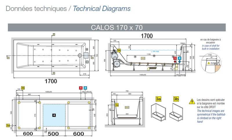 Baignoire Calos Rectangulaire Acrylique 180×80 Novellini