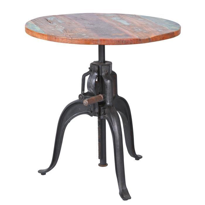 métal désign Table FUNDOSTable ronde, dessus de table en bois