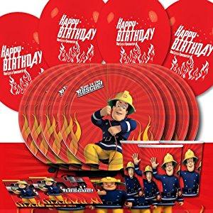 Kit de décoration de table Sam Le Pompier pour 16 personnes avec