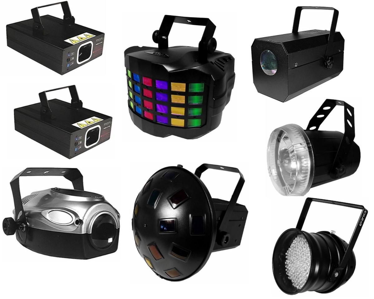 Pack Sono DJ 1600 W avec jeux de lumière et effets