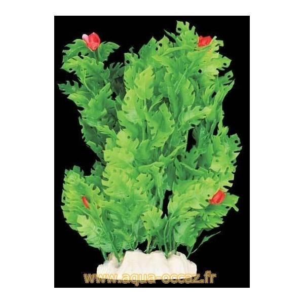 Plante plastique verte avec fleurs rouges pour aquarium : 20cm Achat