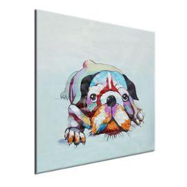 Peinture À L'huile Tableau Art Abstraite Chien Animal Sur Toile