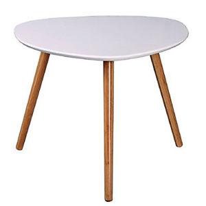 Table basse Zoe, blanc et bambou, L60 x H60 x P40.5 cm