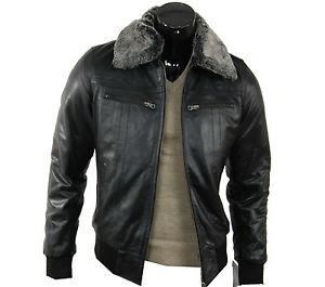 Veste blouson manteau cuir homme / Col fourrure / Cintré / Noir / S M