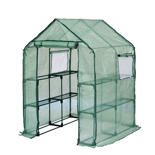 Jany Serre de jardin carrée souple 8 étagères + 2 fenêtres