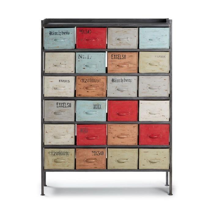 Meuble de rangement industriel 24 tiroirs Keywe Achat / Vente