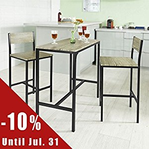Ensemble table de bar + 2 chaises, Set de 1 Table + 2 Chaises, Table