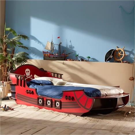 Lit enfant 90 x 190 cm PIRATE CRAZY SHARK pas cher à prix