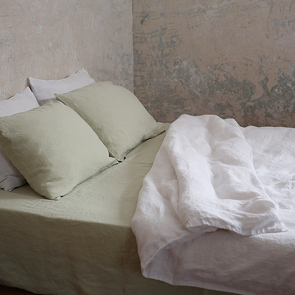 HOUSSE DE COUETTE BLANC PUR 100% LIN STONE WASHED