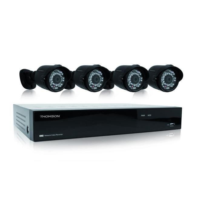 THOMSON Kit de surveillance NVR avec 4 voies 4 caméras et disque dur