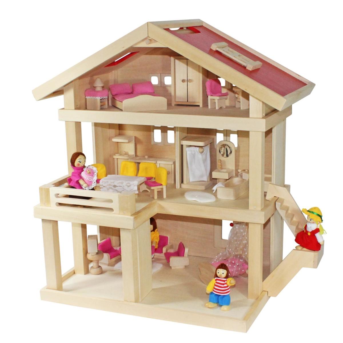 Villa Freda rosé maison de poupée Villa de ville+Famille de poupées
