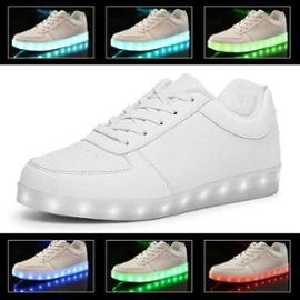 Chaussures Led Femme Homme Blanc Usb Rechargeable Clignotants