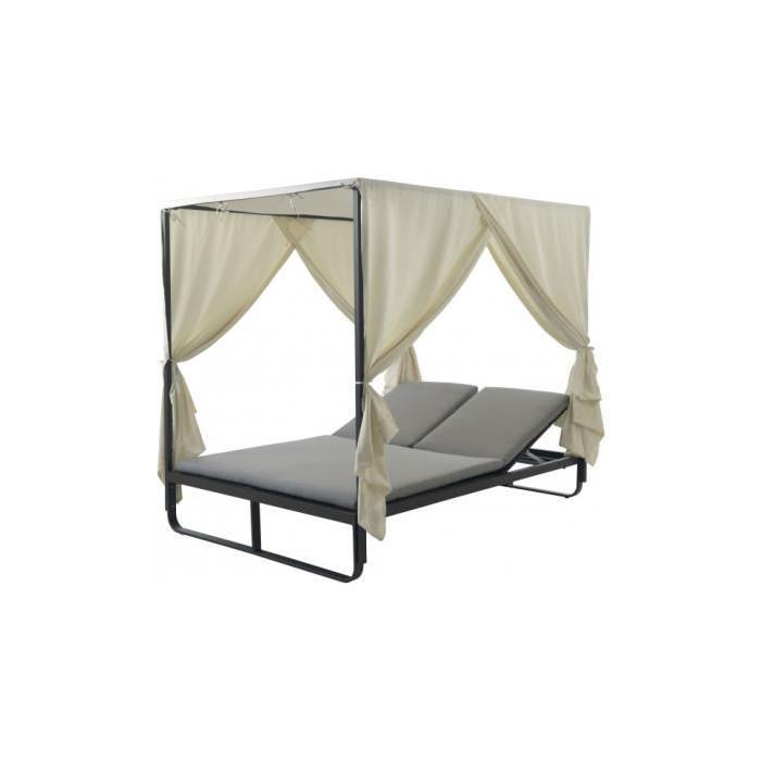 coussin gris clair Achat / Vente chaise longue Bain de soleil double