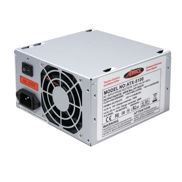 Alimentation PC Advance ATX 5100S 480W « STYLE17 »>Alimentation: 480W