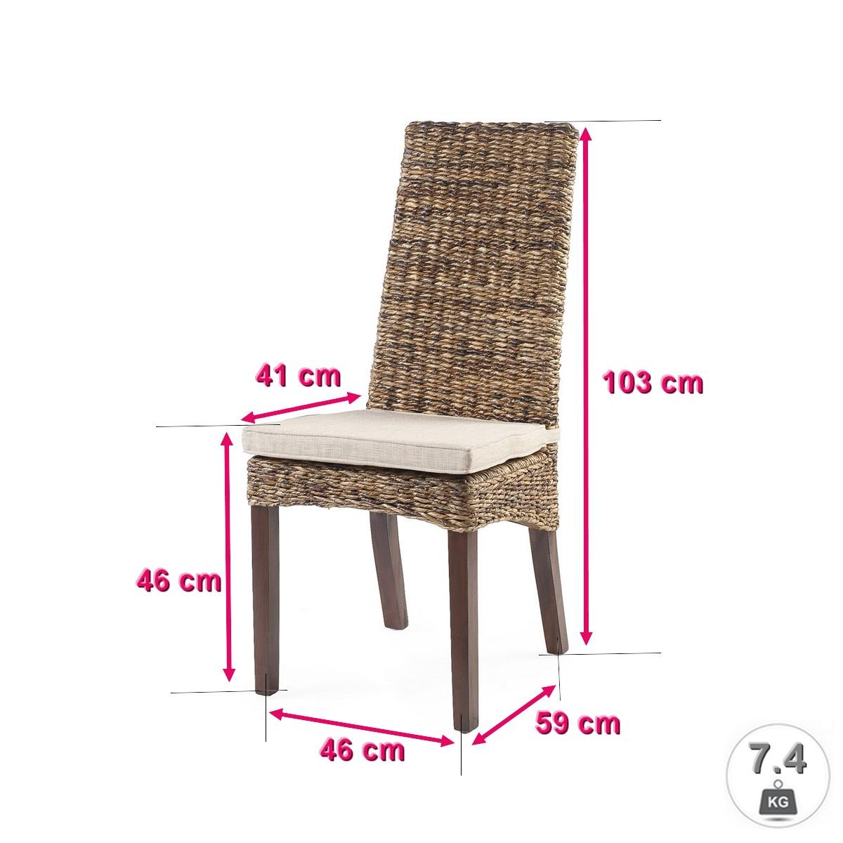 NEUF : Lot 6 Chaises en Rotin Marron Lavezzi Chaises de salle à