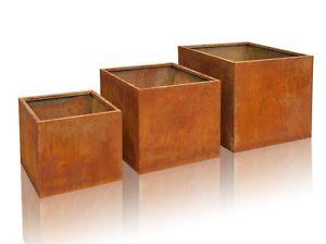 Cache pot Cube Acier Corten Jardiniere Jardinage Planteur Pot de Fleur