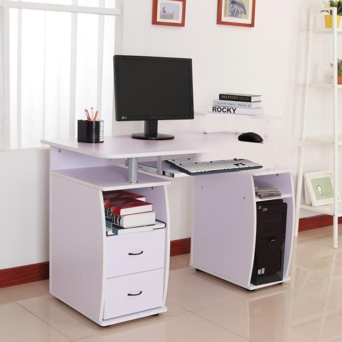 Bureau pour ordinateur table meuble PC informatique multimédia en MDF
