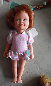 Vintage 1988 Vinyl Playskool Dolly Surprise Red Hair Character Doll 9