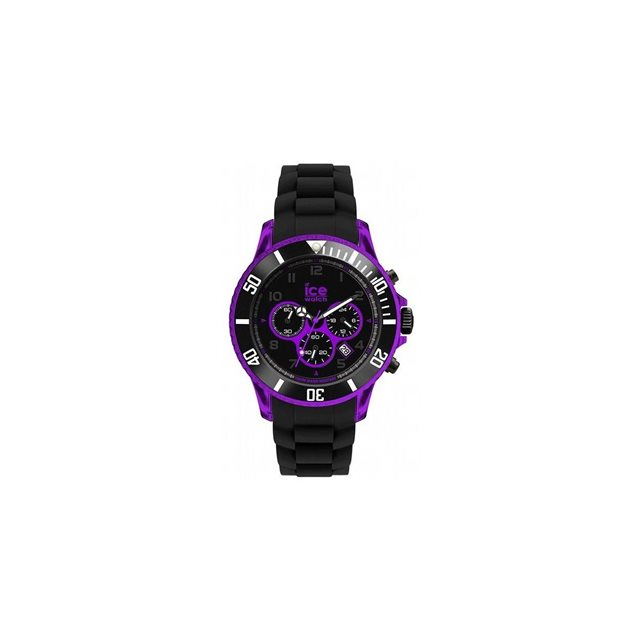 image Montre Ice Watch Chrono Big Big Violet + Noir Blt Silicone Noir