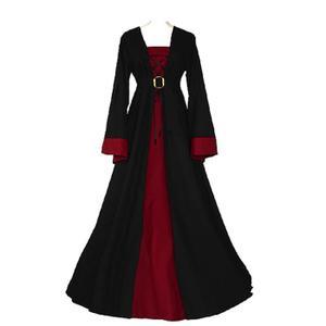 PANOPLIE Déguisement Noire&Rouge Robe Médiévale Renaissance