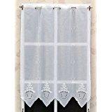 Rideaux brise bise Blanc avec broderie coeur 50 cm de haut   La