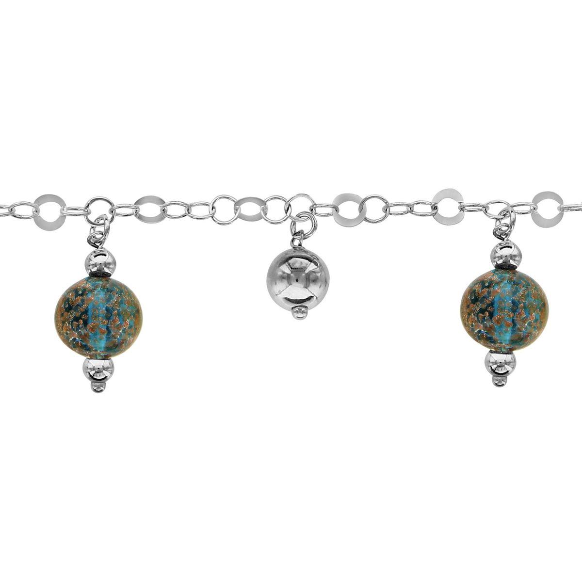 cm 3 Boules Pampilles Verre de Murano Bleu Argent 925 SO CHIC BIJOUX