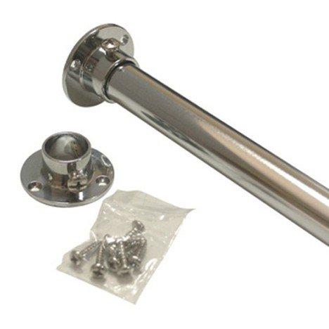 Barre de penderie extensible ronde chromé, D. 18 mm, L. 0.6 m | Leroy