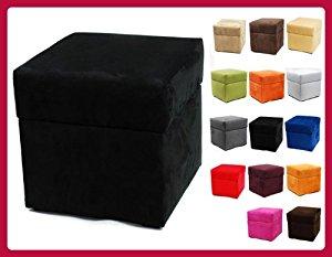 Pouf cube coffre de rangement ALICANTE BOX 40cm/40cm Noir W079 09