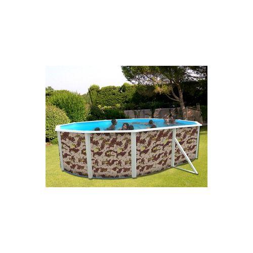 Toi VigiPiscine Kit piscine hors sol acier Camuflaje ovale