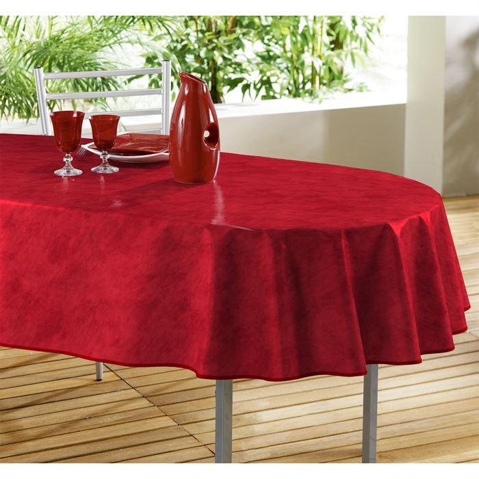 Nappe toile cirée ovale 240×140 BETON CIRE rouge Achat / Vente