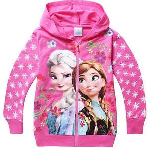 Frozen Capuche Veste Fille Fermeture Éclair Manteau Tricot Elsa Bleu