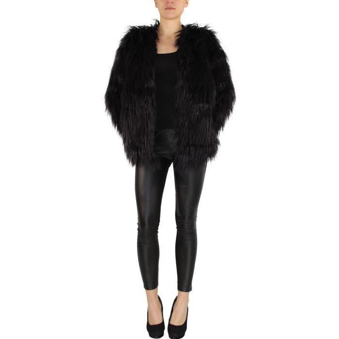 Veste effet fourrure noire taille: M Noir Achat / Vente veste