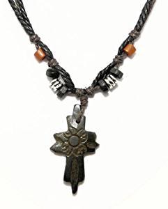 Surf collier de surfeur cordon avec croix sculpté osseuse / crucifix