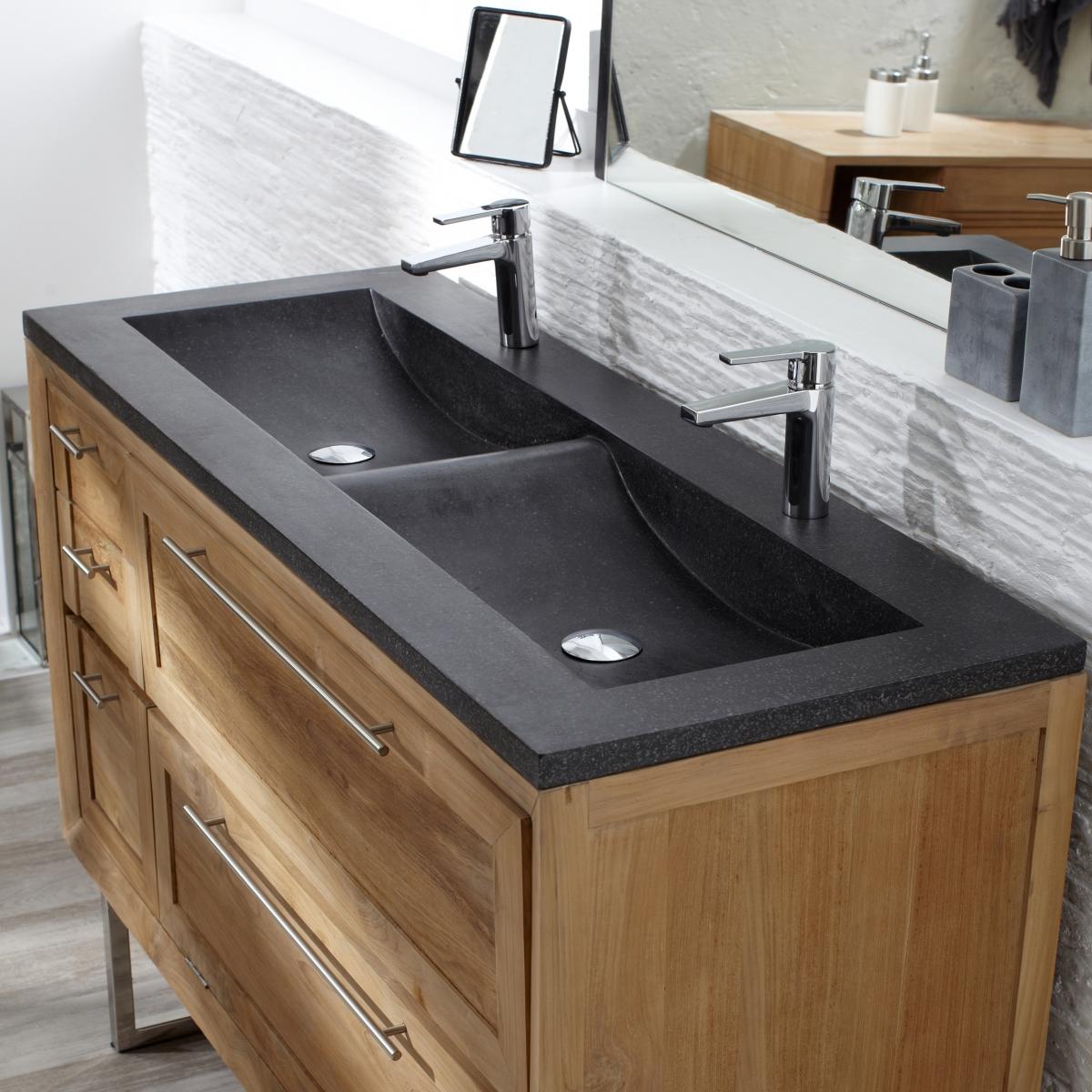 meuble avec vasque en teck 130 wave meuble avec vasque
