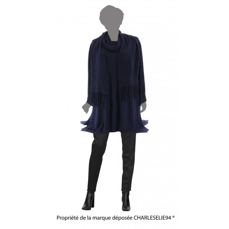 Pull Tunique Long + Écharpe Hiver Femme Grande Taille Bleu Marine