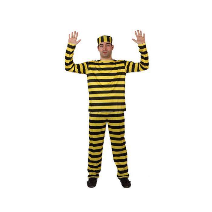 Costume homme déguisement adulte Prisonnier Jaune & Noir Costume
